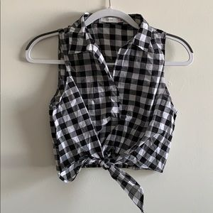 Black and white plaid Crop top from lush